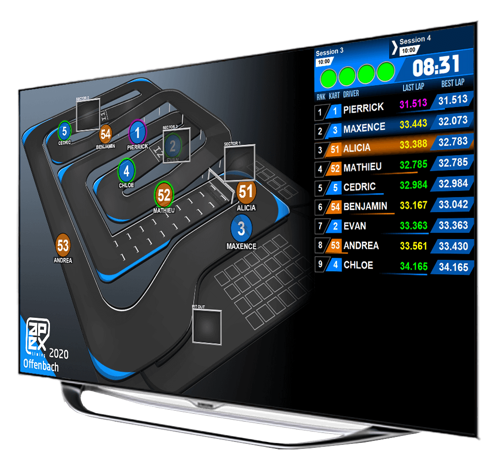 The Apex Timing go-kart software solution allows you to enterely manage your indoor and outdoor go-kart center : point of sale, track management, safety of the karting track, kart maintenance, karting timing, live timing...