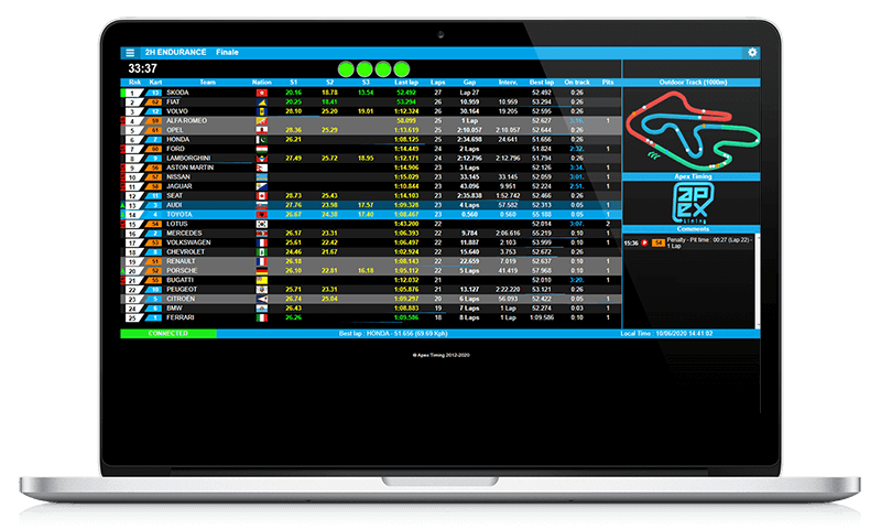 Display your races live on the internet with the best live timing of the market by Apex Timing. For go-kart centers and kart races.